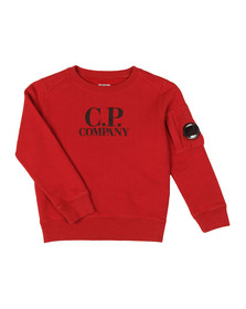 CP Company Undersixteen Boys Red Logo Viewfinder Sleeve Fleece Sweatshirt