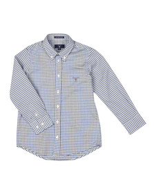 Gant Boys Blue Tech Prep Oxford Gingham Shirt