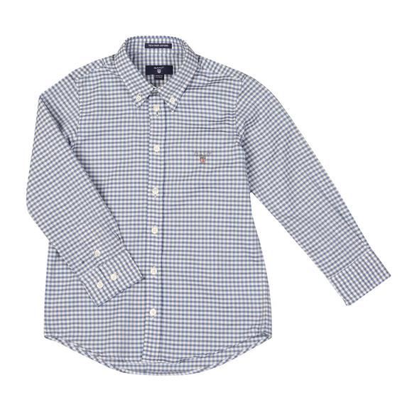 Gant Boys Blue Tech Prep Oxford Gingham Shirt main image