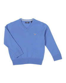 Gant Boys Blue Superfine Lambswool V Neck Jumper