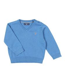 Gant Boys Blue Baby Light Weight Cotton V Neck Jumper