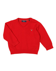 Gant Boys Red Baby Light Weight Cotton V Neck Jumper