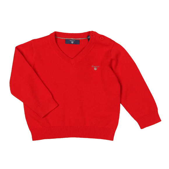 Gant Boys Red Baby Light Weight Cotton V Neck Jumper main image