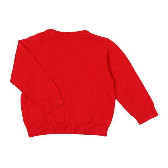 Gant Boys Red Baby Light Weight Cotton V Neck Jumper
