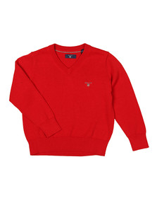 Gant Boys Red Lightweight Cotton V Neck Jumper