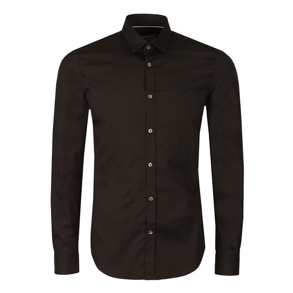 Lacoste Mens Black CH9628 LS Slim Stretch Shirt main image