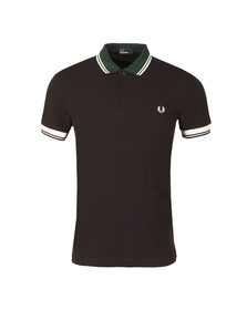 Fred Perry Mens Blue S/S Ribbed Trim Polo