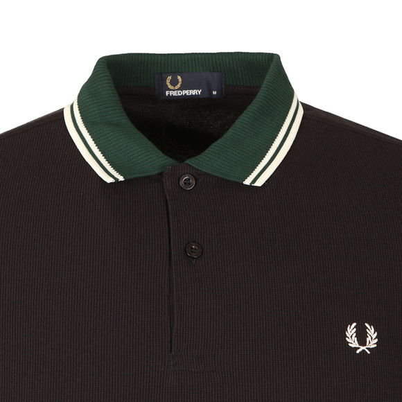 Fred Perry Mens Blue S/S Ribbed Trim Polo main image