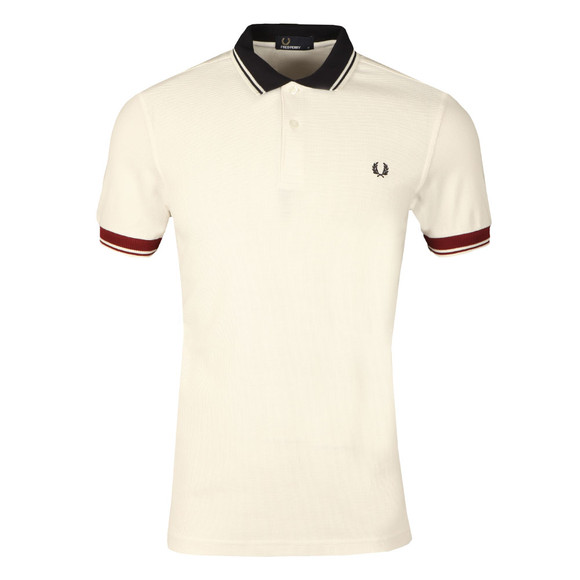 Fred Perry Mens White S/S Ribbed Trim Polo main image