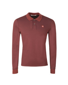 CP Company Mens Brown Slim Fit Long Sleeve Polo Shirt
