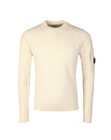 CP Company Mens Off-white Crew Neck Knitted Jumper