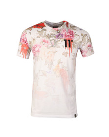 Eleven Degrees Mens White Dripping Floral Sub Tee