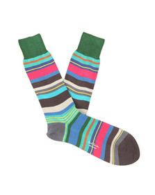 Paul Smith Mens Green Halentoe Stripe Socks