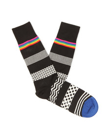 Paul Smith Jeans Mens Black Mixed Bag Stripe Sock