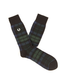 Fred Perry Mens Green Black Watch Socks