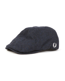 Fred Perry Mens Blue Boiled Wool Flat Cap