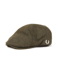 Fred Perry Mens Green Herringbone Flat Cap
