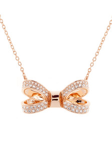 Ted Baker Womens Pink Olessi Mini Opulent Pave Bow Pendant