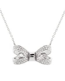 Ted Baker Womens Silver Olessi Mini Opulent Pave Bow Pendant