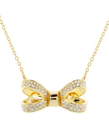 Ted Baker Womens Gold Olessi Mini Opulent Pave Bow Pendant