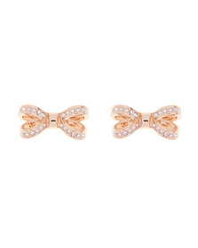 Ted Baker Womens Pink Olitta Mini Opulent Pave Bow Earring