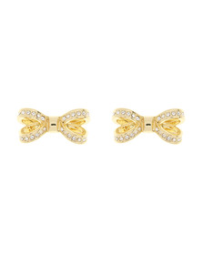 Ted Baker Womens Gold Olitta Mini Opulent Pave Bow Earring