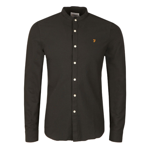 Farah Mens Black Brewer L/S Grandad Shirt main image