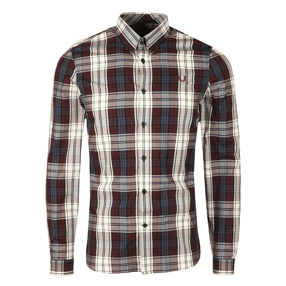 Fred Perry Mens Brown Bold Tartan LS Shirt main image