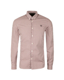 Fred Perry Mens Blue 3 Colour Basketweave Shirt