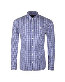 Pretty Green Mens Blue L/S Francis Gingham Shirt