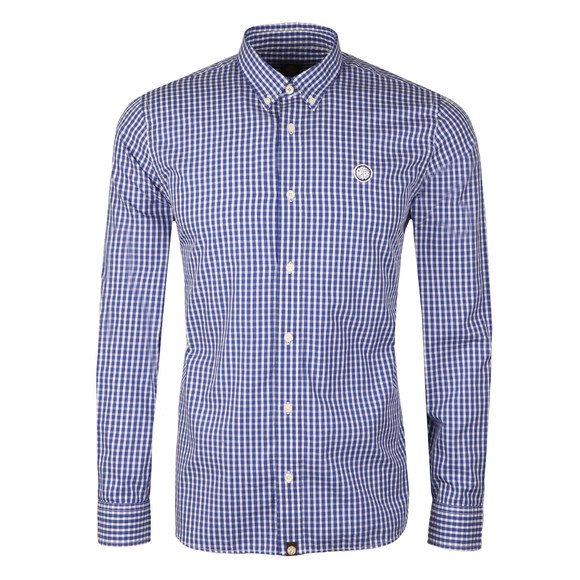 Pretty Green Mens Blue L/S Francis Gingham Shirt