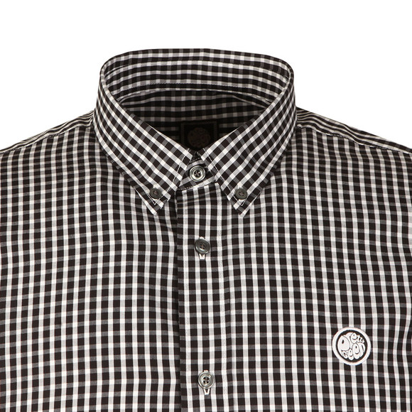 Pretty Green Mens Black L/S Francis Gingham Shirt