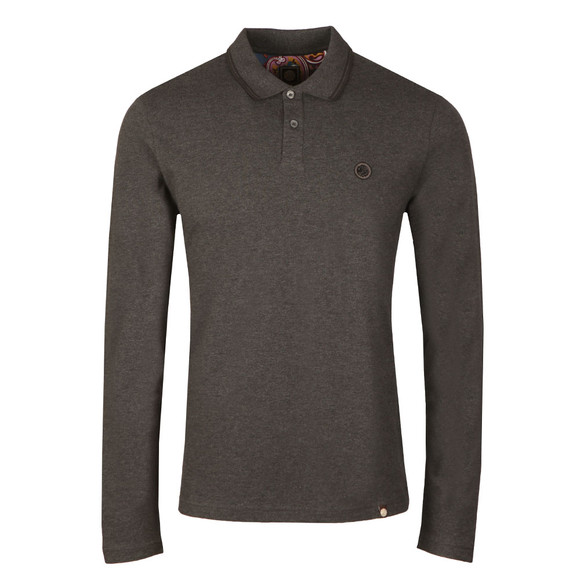 Pretty Green Mens Grey L/S Barton Tipped Polo main image