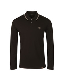 Pretty Green Mens Black Long Sleeve Tipped Pique Polo