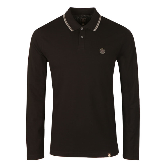 Pretty Green Mens Black Long Sleeve Tipped Pique Polo main image