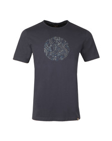 Pretty Green Mens Blue Paisley Print Logo T-Shirt