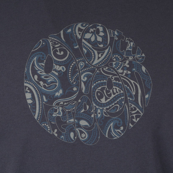 Pretty Green Mens Blue Paisley Print Logo T-Shirt main image