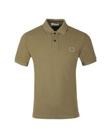Stone Island Mens Green Tipped Regular Fit Polo Shirt