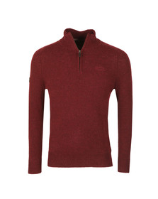 Superdry Mens Red Harlo Henley 1/2 Zip Jumper