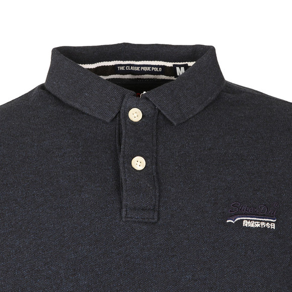 Superdry Mens Blue Classic LS Pique Polo main image