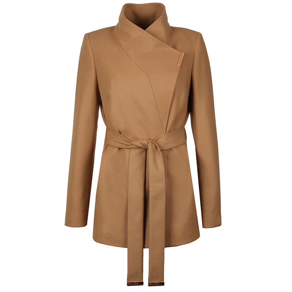 5f1accd5f Womens Brown Keyla Short Wrap Coat
