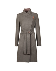 Ted Baker Womens Grey Khera Contrast Long Wrap Coat