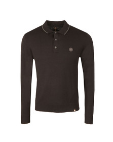 Pretty Green Mens Black L/S Tilson Knitted Polo