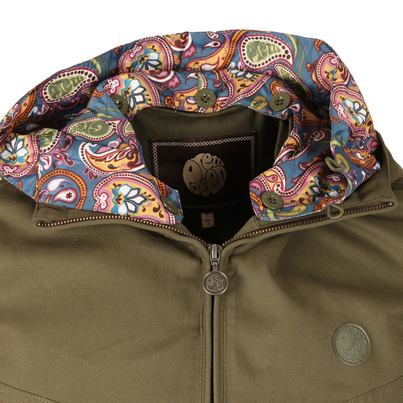 Pretty Green Mens Green Beckford Cotton Zip Up Hooded Jacket main image