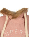 Superdry Womens Pink Applique Fur Slouch Hoody