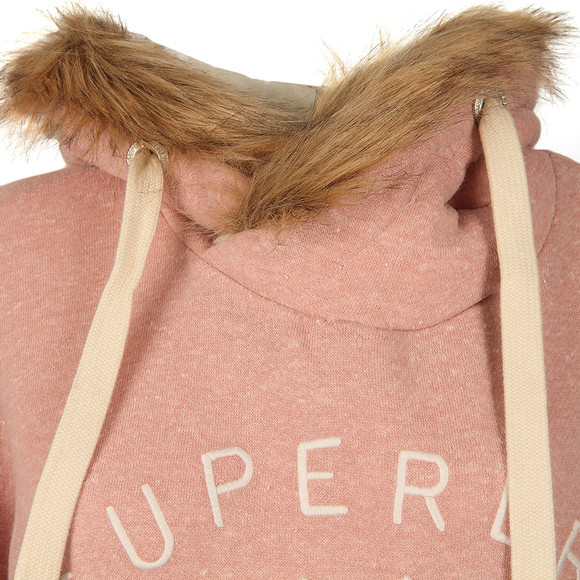 Superdry Womens Pink Applique Fur Slouch Hoody main image