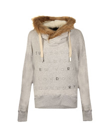 Superdry Womens Grey Applique Fur Slouch Hoody