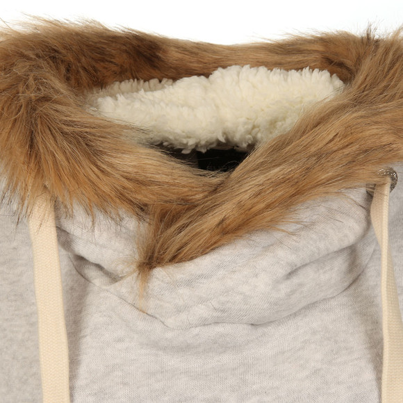 Superdry Womens Grey Applique Fur Slouch Hoody main image