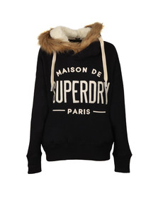 Superdry Womens Blue Applique Fur Slouch Hoody