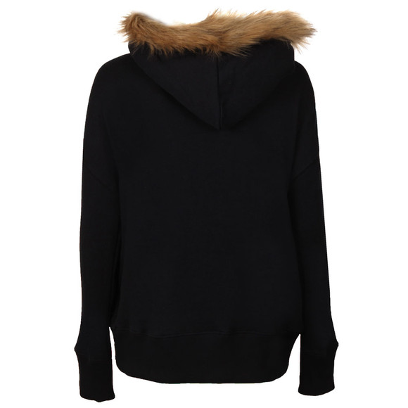 Superdry Womens Blue Applique Fur Slouch Hoody main image
